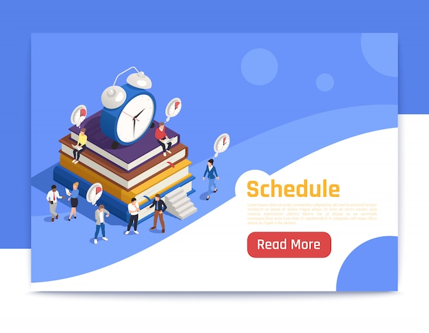 Schedule isometric landing page with big alarm clock icon and people planning routine work