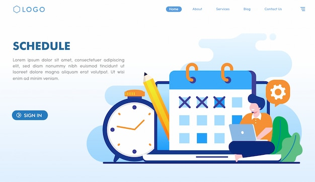 Schedule landing page template