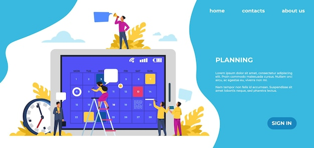 Schedule landing page. time management, office work events and meetings. vector web page