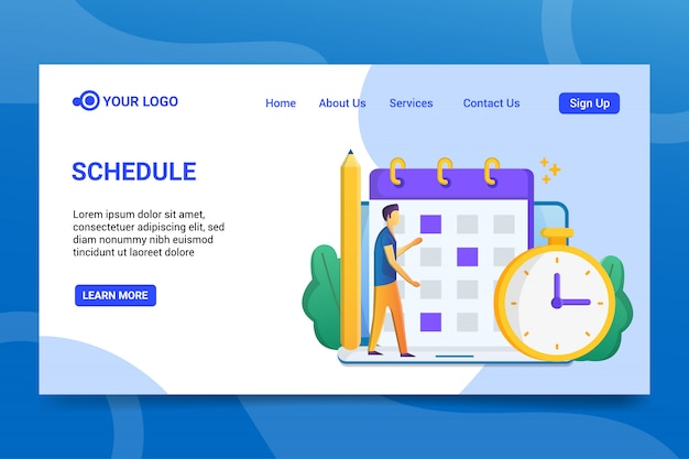 Schedule landing page