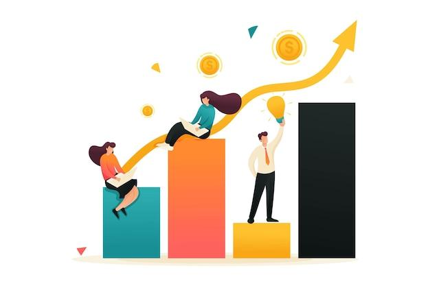 수익 성장 및 목표 달성 일정. 소녀들은 차트에 앉아서 일합니다. 웹 디자인에 대한 개념입니다.