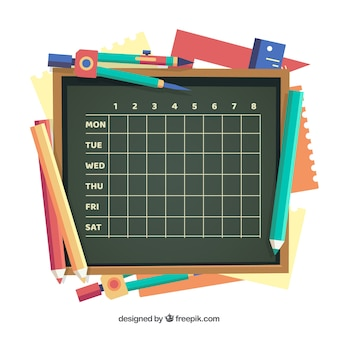 Schedule on the blackboard and materials