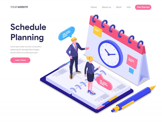 Schedule planning concept for landing page, ui, web, homepage, banner