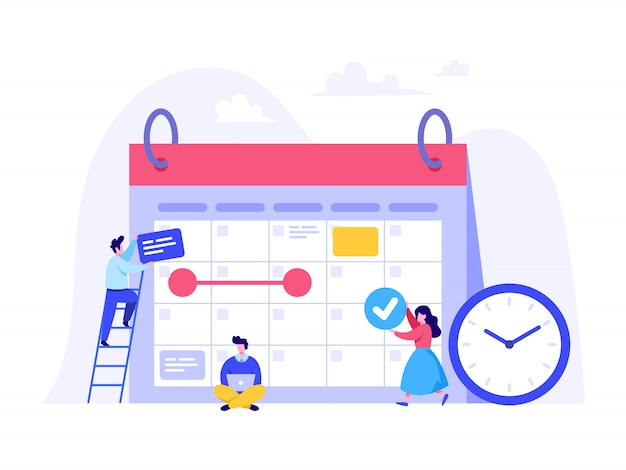Schedule planning concept for landing page, ui, web, homepage