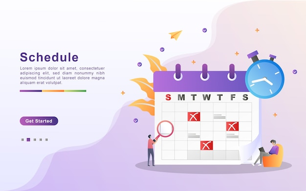 Schedule and planning concept, personal study plan creation, business time planning, events and news, reminder and schedule.