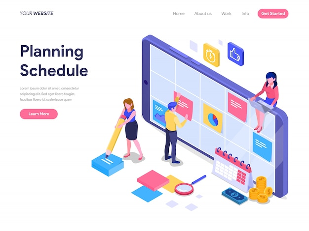 Schedule planning isometric concept for landing page, ui, website