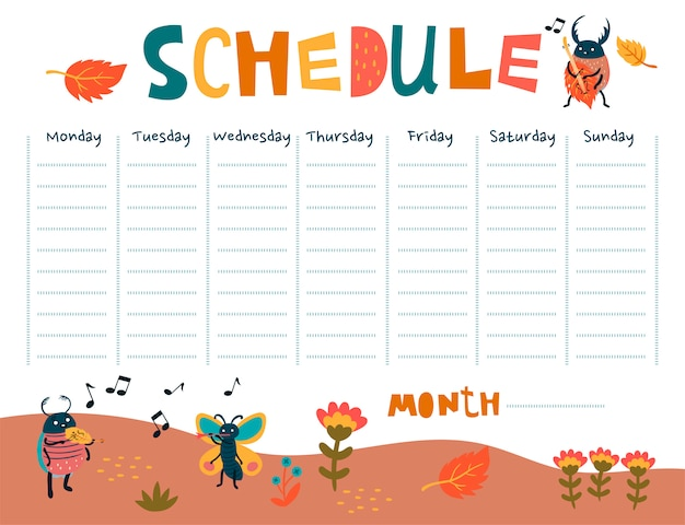 Schedule with cute beetles musicians.  graphics.