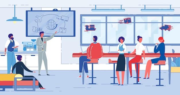 Запланированная встреча сотрудников отдела маркетинга, мультфильм.