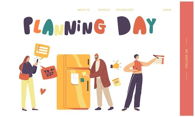 Планирование, день планирования, концепция заполнения списка дел. персонажи мужского и женского пола заполняют контрольный список в холодильнике, люди делают записи в блокноте, календаре или приложении для смартфона. векторные иллюстрации шаржа