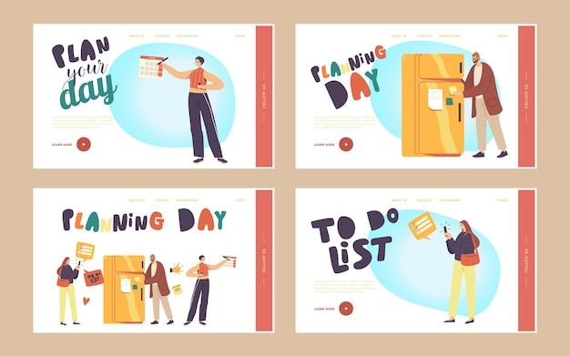 Планирование, день планирования, список дел, заполнение набора шаблонов целевой страницы. персонажи заполняют контрольный список на холодильнике, люди делают заметки в блокноте, календаре, приложении для смартфона. векторные иллюстрации шаржа