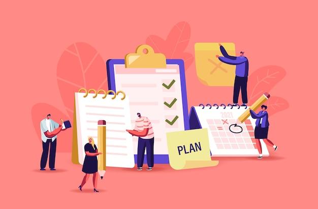 일정, 계획, 영감 및 창작 과정 개념. 비즈니스 캐릭터는 체크리스트 채우기 확인란이 있는 거대한 클립보드에 서서 교과서에 메모합니다. 만화 사람들 벡터 일러스트 레이 션