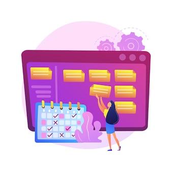 スケジューリング、計画、目標の設定。スケジュール、タイミング、ワークフローの最適化、割り当てに注意してください。時刻表の漫画のキャラクターを持つ実業家。