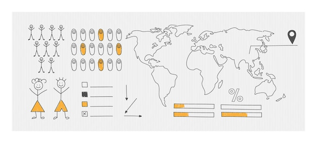 A schematic map of the world for statistics visualization. hand drawn elements of infographics.