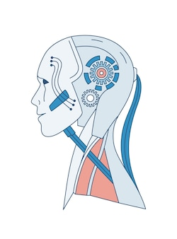 로봇 또는 안드로이드 흰색 절연의 도식 초상화