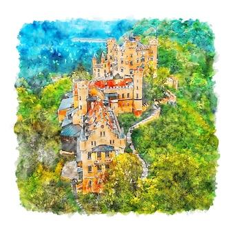 Замки шлосс хоэншвангау акварельный эскиз рисованной иллюстрации