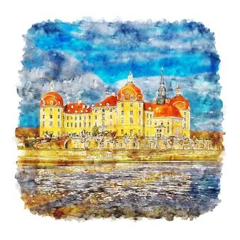 Schloss moritzburg германия акварельный эскиз рисованной иллюстрации