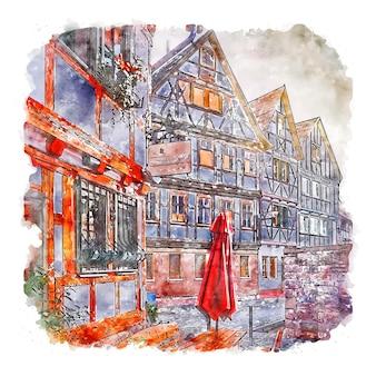 슈말칼덴 독일 수채화 스케치 손으로 그린 그림