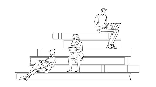 トリビューンブラックライン鉛筆画ベクトルで読書を勉強している学者。ノートパソコンで作業する少年学者、タブレットを見て本を読む少女。学生教育キャラクターイラスト