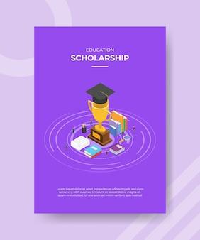 Шаблон плаката концепции стипендии с изометрической векторной иллюстрацией стиля