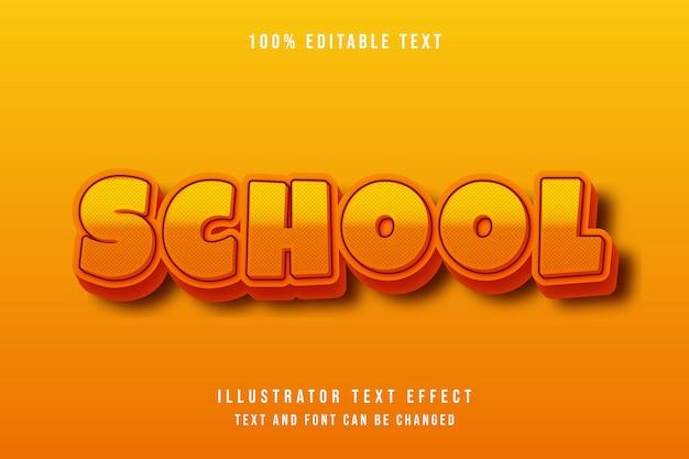 School,3d editable text effect orange gradation yellow pattern dots modern shadow comic style