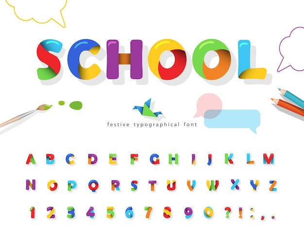 School 3d puzzle font. colorful alphabet for kids.