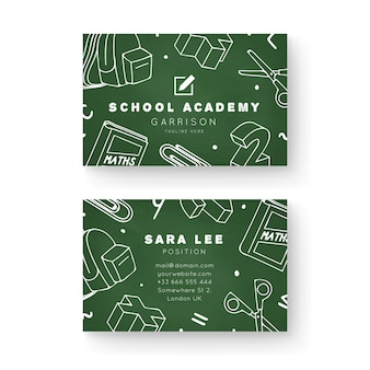 School academy double-sided business card template