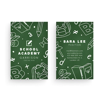 School academy vertical double-sided business card template