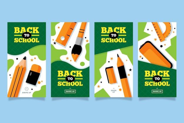 Storie di instagram design piatto accessori scuola