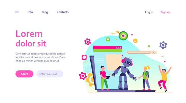 School activity and robotics class concept. boy operating robot with remote control. vector illustration for young engineer, education, robotic science for kids topics