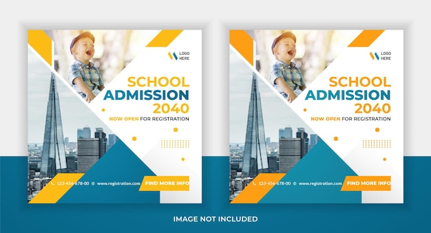 School admission education social media instagram post and web banner template