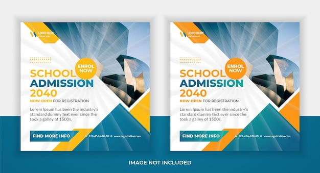 School admission education social media post and web banner template design