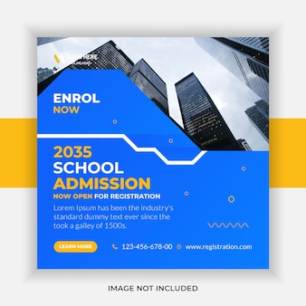 School admission education social media post and web banner template