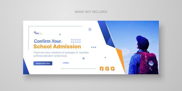 School admission facebook cover template premium vector
