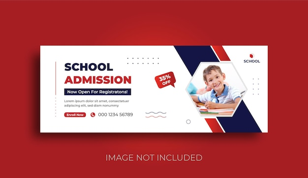 School admission facebook cover and web banner social media post template