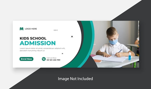 School admission horizontal banner or facebook cover photo design template