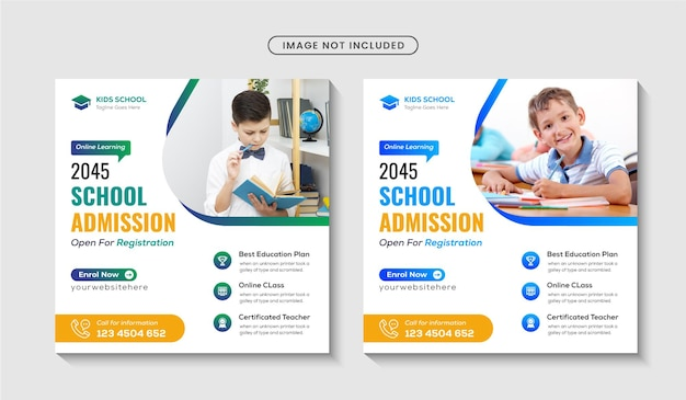 School admission instagram post banner or editable square flyer poster template premium vector
