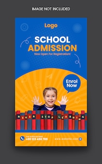 School admission instagram post story template