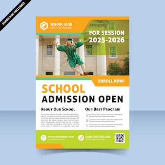 School admission open colorful flyer template design