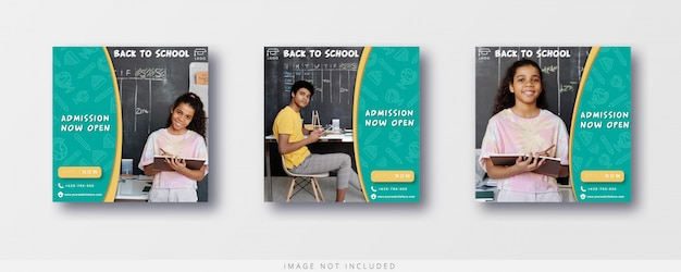 School admission open instagram post and banner template
