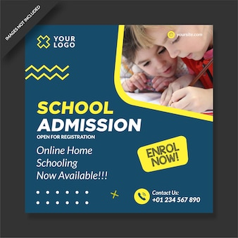 School admission program social media post design vector