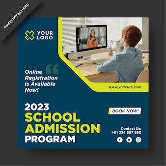 School admission program social media post design