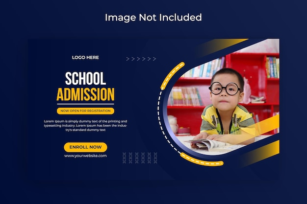 学校入学ソーシャルメディアとウェブバナーチラシフェイスブックカバー写真プレミアムベクター