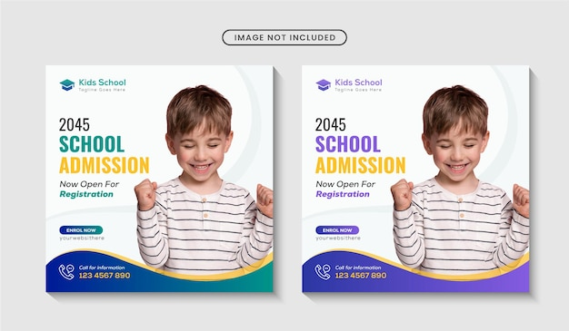 School admission social media banner or instagram post template premium vector