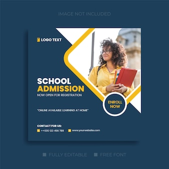 School admission social media and education web banner templates
