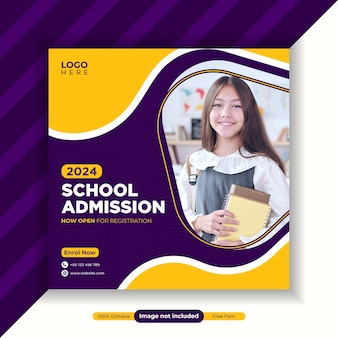 School admission social media and instagram post banner template