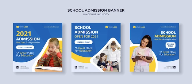 School admission social media instagram post template