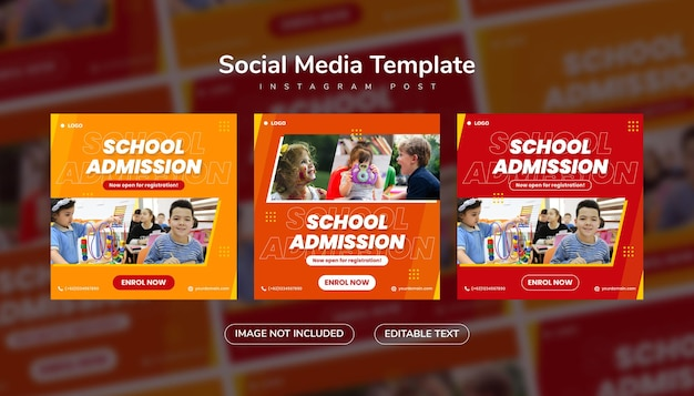 오렌지와 레드 색상의 학교 입학 소셜 미디어 게시물 및 웹 배너 인스타그램 템플릿