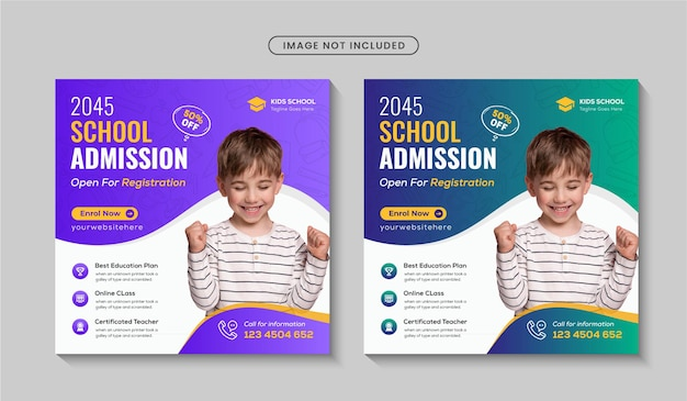 学校入学ソーシャルメディア投稿または学校に戻る正方形のバナーチラシテンプレートプレミアムベクトル