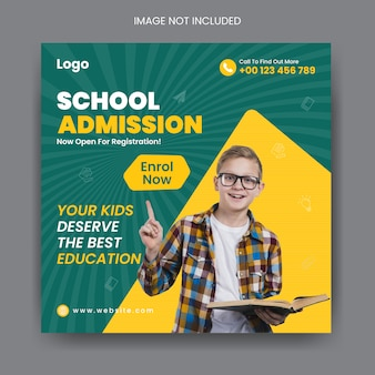 School admission social media post and square banner template