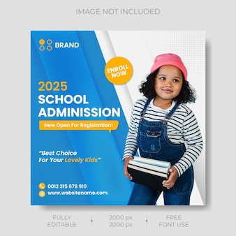 School admission social media post and square flyer template premium